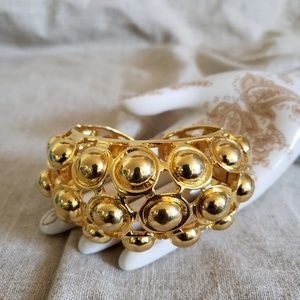 KJL Kenneth Jay Lane Gold Orb Bump Clamp Bracelet